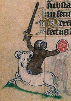 An ape or monkey riding on a goat. Both animals are noted for being lascivious.