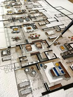 Real Estate Watercolor Floor Plans Part 6 - - Real Estate Watercolor Floor Plans Part 6 Kunst Immobilien Aquarell Grundrisse Teil 6 auf Behance Sketchbook Architecture, Interior Architecture Drawing, Interior Design Renderings, Plans Architecture, Architecture Concept Drawings, Watercolor Architecture, Interior Rendering, Interior Sketch, Architecture Portfolio