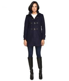 Vince Camuto Hooded Toggle Closure Wool Coat L8311 (Navy) Women's Coat