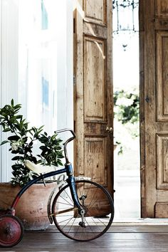 wood doors and a cool old tricycle.