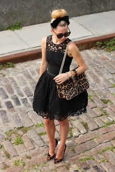 Black lace dress with animal print bag