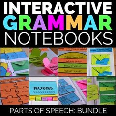 "Grammar: Interactive Grammar Notebook Bundle:  This Interactive Grammar Notebook Bundle Contains the following resources:Bundle and Save Big!Save 33%, and get the Grammar Bundle!!!This Bundle Contains the Following Resources""Nouns Interactive Journal TemplatesVerbs Interactive Journal TemplatesAdjectives Interactive Journal TemplatesPronouns Interactive Journal TemplatesAdverbs Interactive Journal TemplatesArticles Interactive Journal TemplatesPrepositions Interactive Journal…"