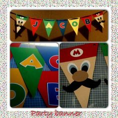 DIY Mario Party Birthday Banner. By TinaG Tools: Cricut Machine (millionaire cartridge for stash, Mickey Fonts); Creative Memory oval templates and blades; hole punch, paper cutter, ribbon, pack of rainbow card stock, 2 sheets if flesh tone card stock, glue stick, ruled edge Cutting Matt, pop dots. Will make to order tinacg909@gmail.com