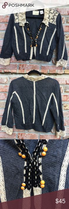 """Anthropologie Lace Crochet Short Sleeve Cardigan Guinevere by Anthropologie Lace Crochet Short Sleeve Cardigan. Hook and eye closure. Features lace Crochet collar and black velvet details in the middle. Measures from pit to pit 20""""/ length 19"""". Anthropologie Sweaters Cardigans"""