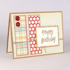 Handmade Birthday Card / Vintage Inspired / Hemp / Buttons / Hand stamped / plaid / polka dots. $4.00, via Etsy.