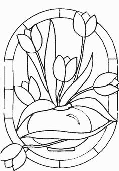 Tulip Mosaic Coloring Page
