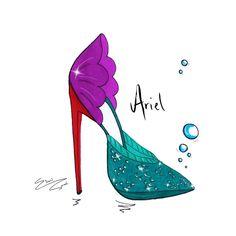 Disney inspired shoe illustrations - The Little Mermaid Design IG: @eileencarmellondon (@eileencarmel)