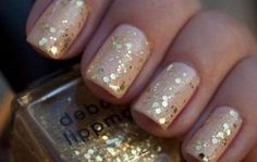 The perfect shade of nude with gold fleck glitter. Love it.