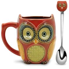 477c06271c2 Beautiful   Funny Cute Small Owl Coffee Mug with Spoon Ceramic Office Latte  Tea Mugs with Spoon Set for Women Men 12 oz Red  Amazon.ca  Home   Kitchen
