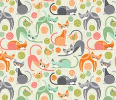 moody cubist cats by cjldesigns. Great cat designs on fabric.