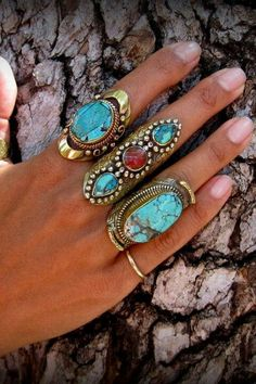 Blues, torquoise, gold, boho love