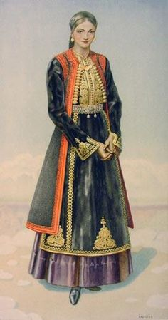 Greek Peasant Womans Costume (Epirus, Kourenta) - Greek Costume Collection by… Greek Traditional Dress, Traditional Outfits, Historical Costume, Historical Clothing, Greece Costume, Empire Ottoman, Costumes Around The World, Greek Culture, Costume Collection