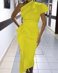 Bodycon One Shoulder Dress Ladies Party Evening Midi Dresses Robe Femme Robe Longuebandage Dress Vestidos Color Yellow Size XL Elegant Dresses, Sexy Dresses, Casual Dresses, Short Dresses, Amazing Dresses, Beautiful Dresses, Midi Dresses, Dress Robes, Dress Outfits