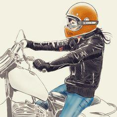 Cafe Racer Pasión — Bike girls by Chris (instagram starvin_artist28) |...