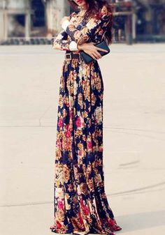 Blue Floral Print Chiffon Dress