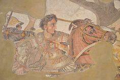 """Das berühmte Mosaik der """"Alexanderschlacht"""", aus der """"Casa del Fauno"""", heute zu besichtigen im Nationalmuseum von Neapel"""