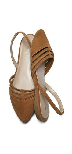 Pointed toe flat with strappy front and slingback.