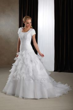Asymmetrical Neck Thin Ruffles Dropped Waist Wedding Dress
