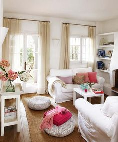 Decoration, Elegant Summer Season Interior Decorating Living Room Ideas With Bright Color: Delightful White Color Home Summer Decoration And Enjoying The Summer Season