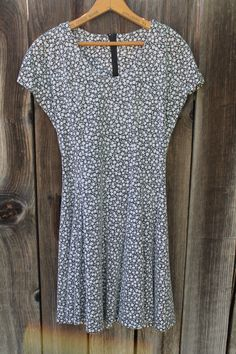 Short Fit and Flare 90s Daisy Print Dress// Cotton Zip Back Flirty and Cute by FoxyRae on Etsy
