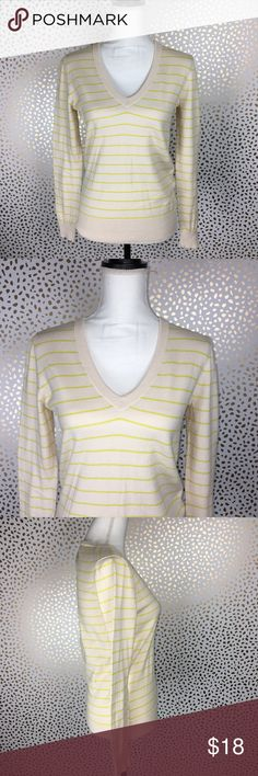 "J. Crew V Neck Long Sleeve Striped V Neck Sweater Excellent preloved condition. Casual J. Crew 100% Cotton V Neck Sweater in cream with yellow stripes. Size M Measurements taken across laying flat 💓 Armpit to armpit: 18"" Length: 24"" J. Crew Sweaters V-Necks"