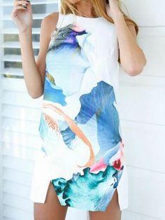Vestido Sin Manga Floral Blanco