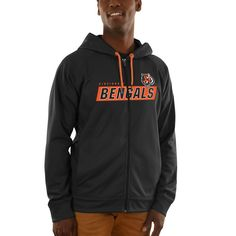 Cincinnati Bengals Majestic Game Elite Synthetic Full-Zip Hoodie - Black