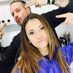 Dobrev posed for a shot in the hair and makeup chair.