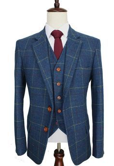 Retro Check Wool Blue Tweed 3 Piece Suit