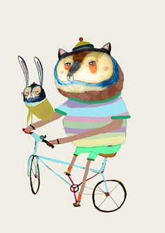 Bear and Hare on Bike Limited edition art print by AshleyPercival, $40.00 kids decor, kids art, illustration, illustrator, artist, wall art, wall decor, childrens illustrator, funny, cute, humor, bear, art, decor, christmas gift, christmas, kids decor, kids room,