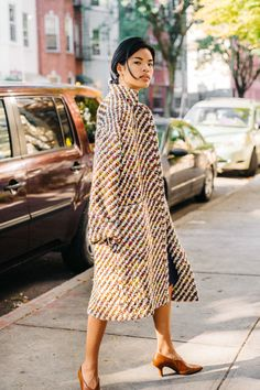 * Multicolored wool oversized tweed coat with pockets     * 90% virgin wool, 10%…