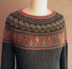 Machu Picchu Knitting pattern by Carol Sunday Fair Isle Knitting, Arm Knitting, Christmas Knitting Patterns, Knit Patterns, Pull Jacquard, Icelandic Sweaters, Fair Isle Pattern, Lang Yarns, Red Heart Yarn