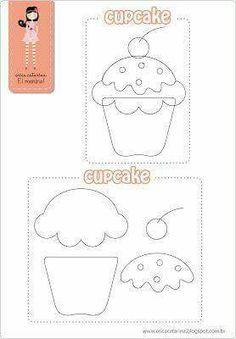 Filz Cupcakes mit Step by Step und Formen - - Felt Templates, Applique Templates, Applique Patterns, Craft Patterns, Sewing Patterns, Quiet Book Templates, Quilting Templates, Food Patterns, Felt Diy
