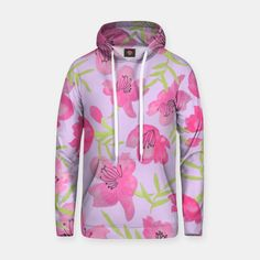 Floral Pink and Green Pattern Baumwoll Kapuzenpullover Hooded Jacket, Athletic, Hoodies, Live, Sweaters, Jackets, Fashion, Hoodie, Jacket With Hoodie