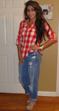 Zara Gingham blouse, Boyfriend jeans and steve madden dejavu pumps