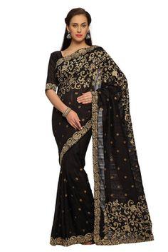 Black embroidered bhagalpuri silk saree with blouse
