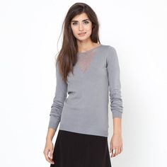 Knit Sweater with Shimmering Modesty Panel