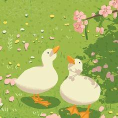 Duck Illustration, Illustrations, Animes Wallpapers, Cute Wallpapers, Animal Drawings, Cute Drawings, Walpapers Cute, Duck Art, Arte Sketchbook