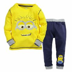 Toddler Boy/ Girl Clothes New Despicable Me Minion Hoodies with Long Pants 2pc Outfit Sets