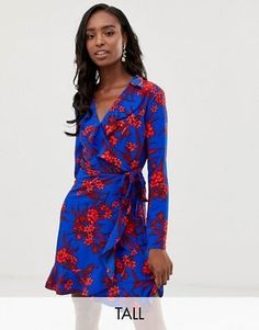 eabfb3c8d8ab4 John Zack Tall ruffle wrap front tea dress in red floral print Wrap Dress,  Fashion