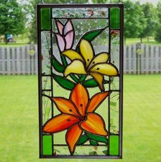 Floral stained glass panel   (81 pieces)
