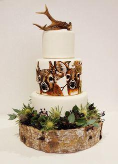 Beautiful Hand Painted Deers Rustic Cake