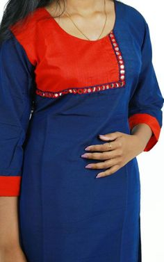 How to make different types of kurthi patterns Kurtis have become a very integral outfit it Indian fashion industry. Salwar Neck Patterns, Salwar Pattern, Dress Patterns, Dress Neck Designs, Blouse Designs, African Fashion, Indian Fashion, Kurti Styles, Churidar Designs