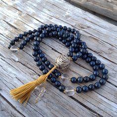 Lapis Mala Prayer Beads with Sterling Silver Tibetian Guru Bead on Etsy, $100.00