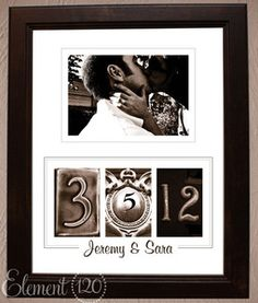 Wedding frame but with metal address numbers for date