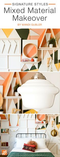Go bold by mixing paint, wood and removable  wallpaper to create a one-of-a-kind statement  wall.  With a large collection  of temporary  wallpaper options at The  Home Depot, you're sure to find something  unique that  fits your  style. We partnered  with blogger Mandi Gubler to create this mixed material makeover.  Click to shop this unique  space.