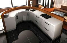 #Kitchen Idea of the Day: Modern white kitchen with curved island.