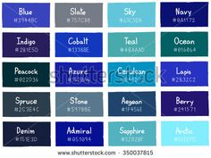Blue Tone Color Shade Background With Code And Name Ilration Stock Vector Shades Of
