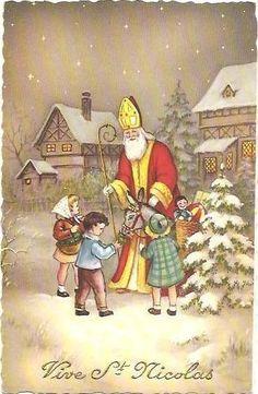 Jolie carte ancienne de saint nicolas avec enfants