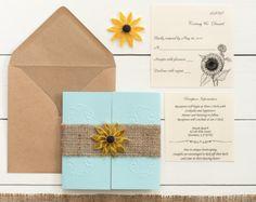 Aqua and burlap invitation Aqua and sunflower wedding invitation Blue and sunflower Navy and yellow invitation Country sunflower invitation